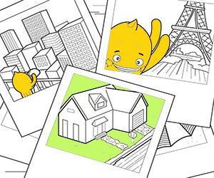 desenhos de Casas, Cidades e Monumentos para colorir e imprimir