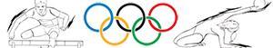 desenhos de Esportes olímpicos. Atletismo. Ginástica. Eventos combinados para colorir